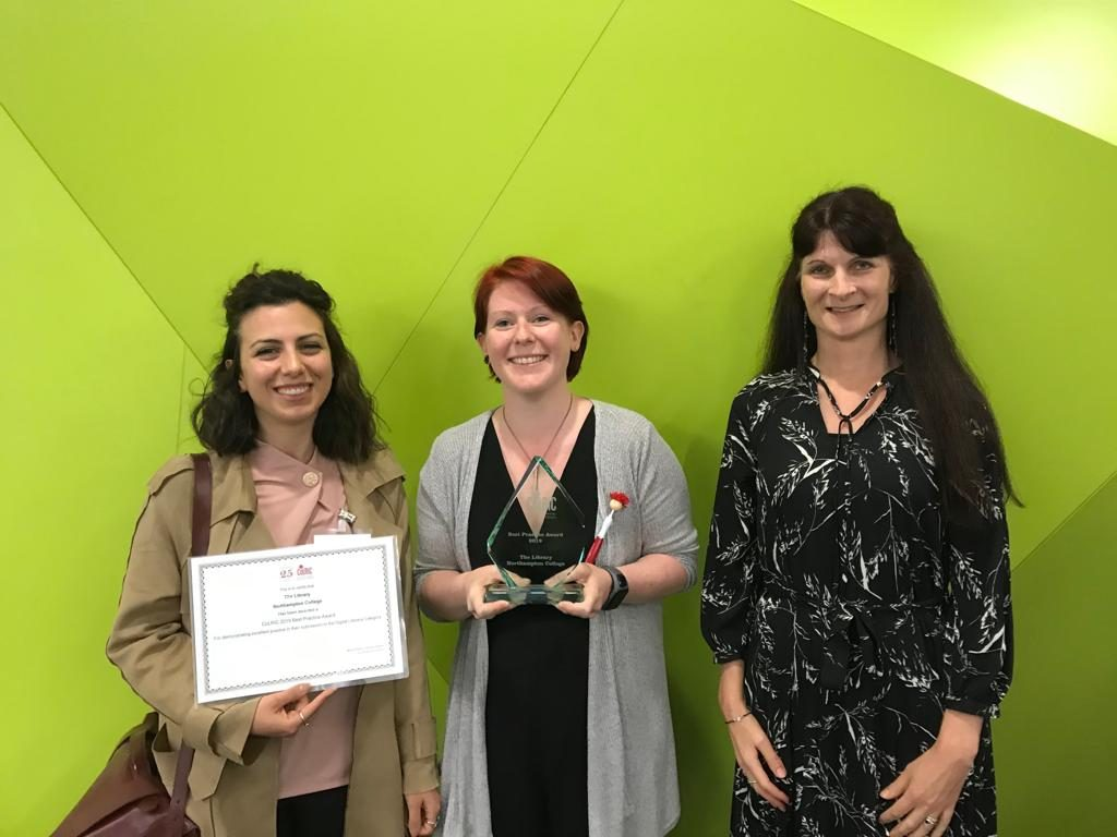 The Library team collecting CoLRiC Best Practice Award for DigiCap scheme
