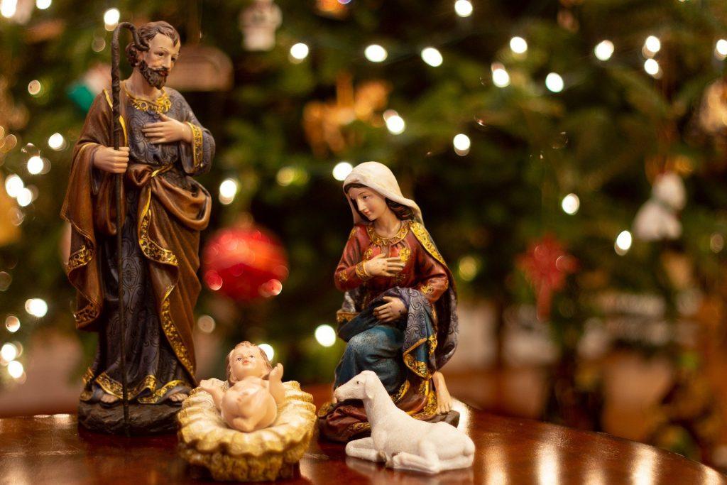 Nativity scene showing Jesus in a manger
