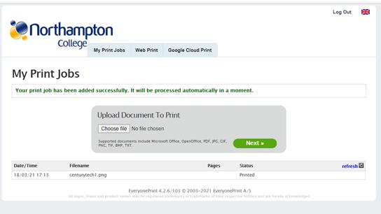 eprint upload document to print
